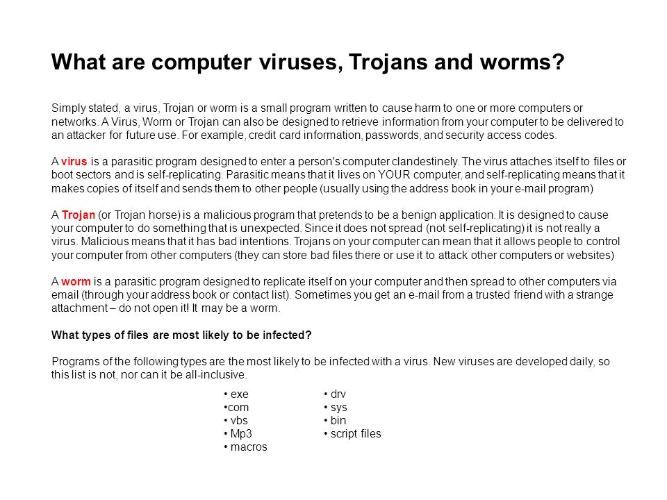 What are computer viruses, Trojans and worms