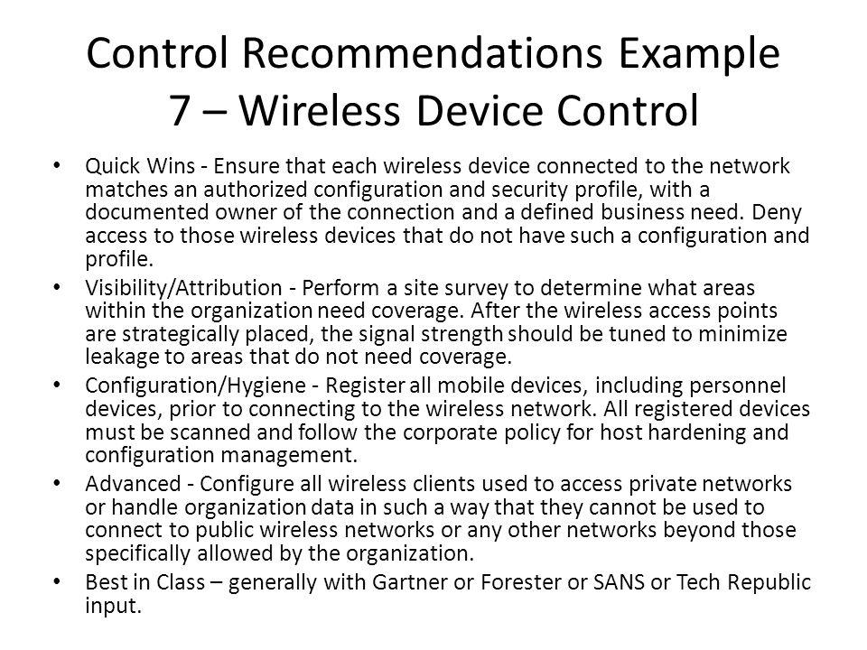 Control Recommendations Example 7 – Wireless Device Control