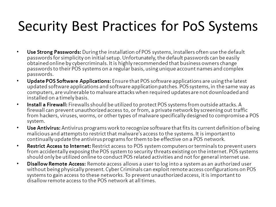 Security Best Practices for PoS Systems