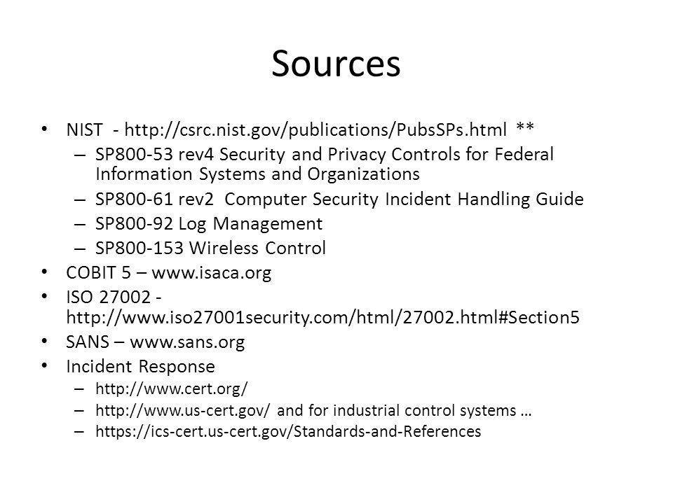 Sources NIST - http://csrc.nist.gov/publications/PubsSPs.html **