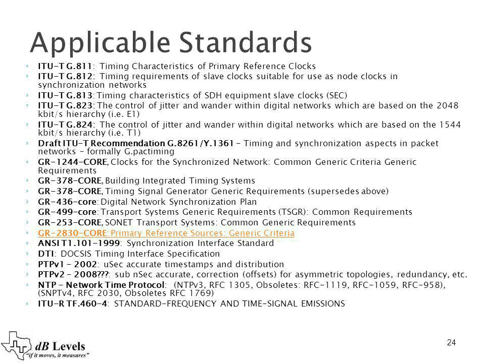 Applicable Standards ITU-T G.811: Timing Characteristics of Primary Reference Clocks.