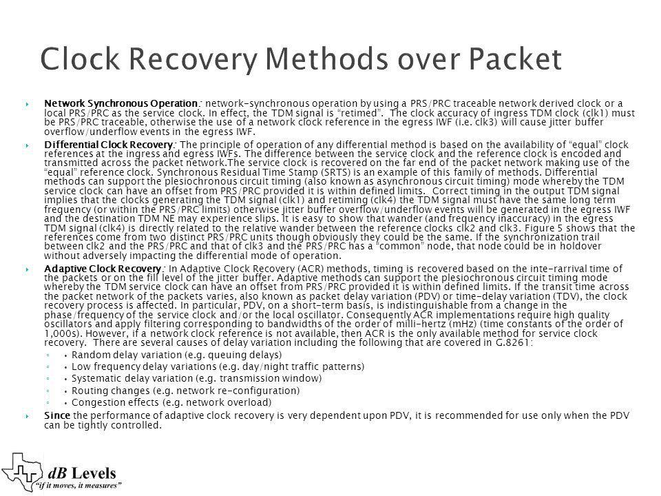Clock Recovery Methods over Packet