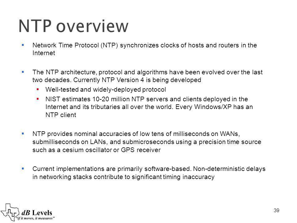 NTP overview Network Time Protocol (NTP) synchronizes clocks of hosts and routers in the Internet.