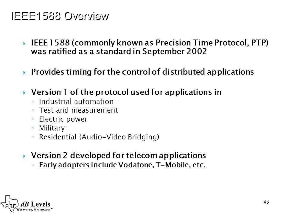 IEEE1588 Overview IEEE 1588 (commonly known as Precision Time Protocol, PTP) was ratified as a standard in September 2002.