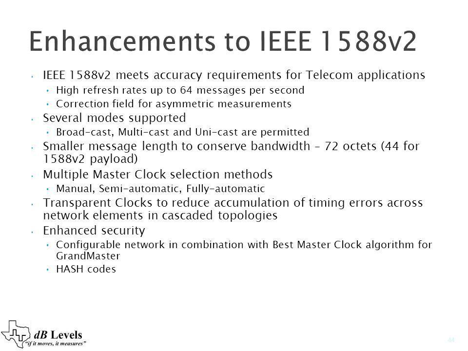 Enhancements to IEEE 1588v2 IEEE 1588v2 meets accuracy requirements for Telecom applications. High refresh rates up to 64 messages per second.