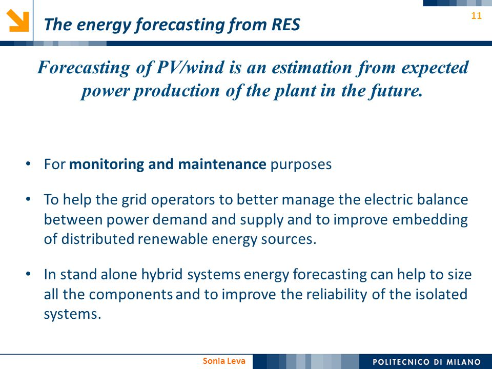 The energy forecasting from RES