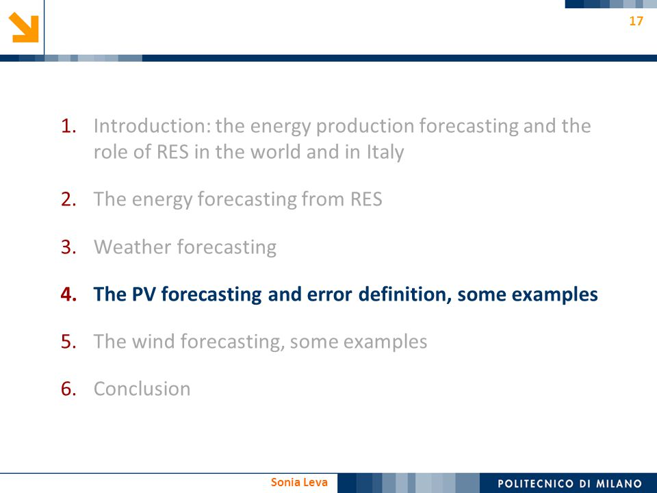 The energy forecasting from RES Weather forecasting