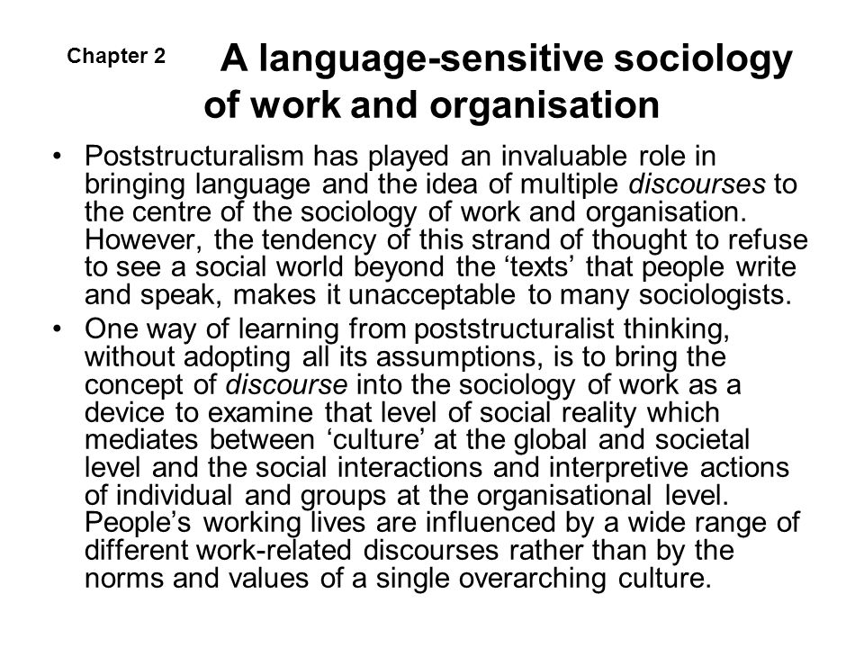 A language-sensitive sociology of work and organisation