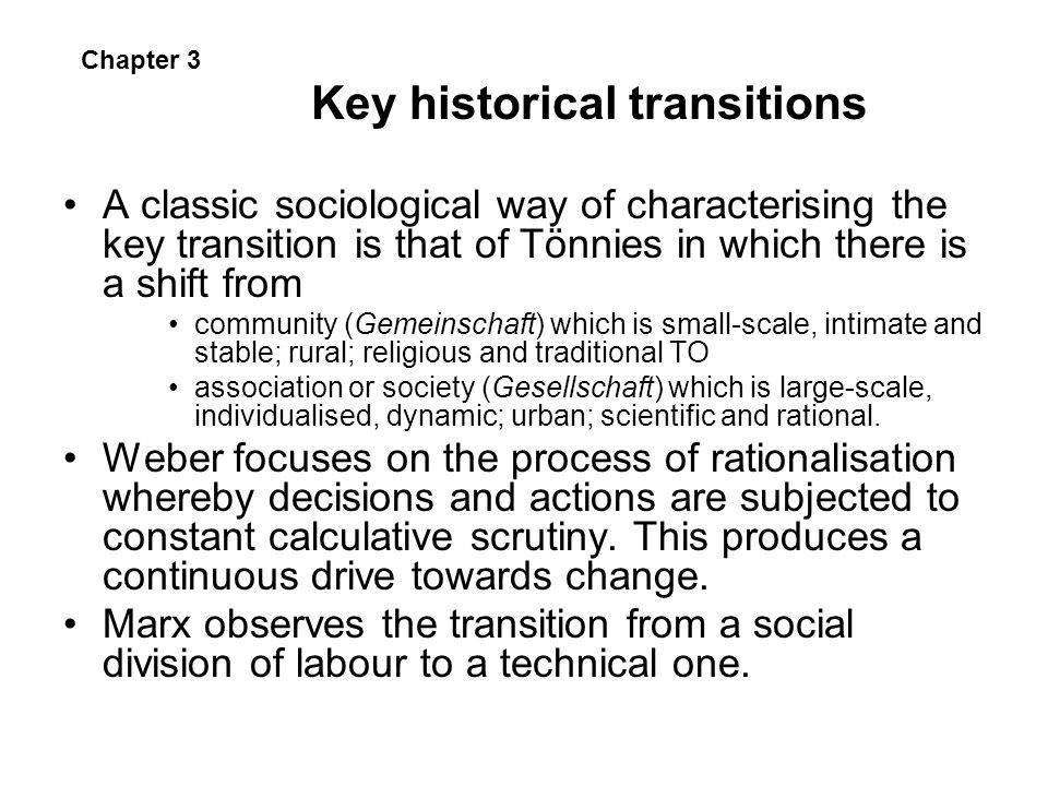 Key historical transitions