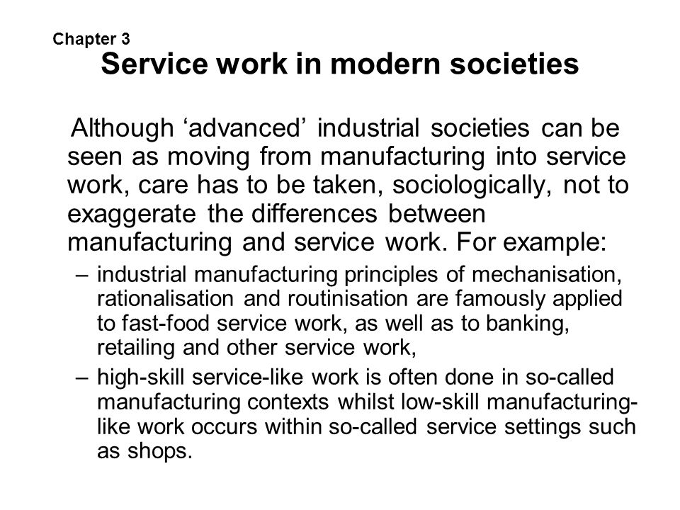 Service work in modern societies