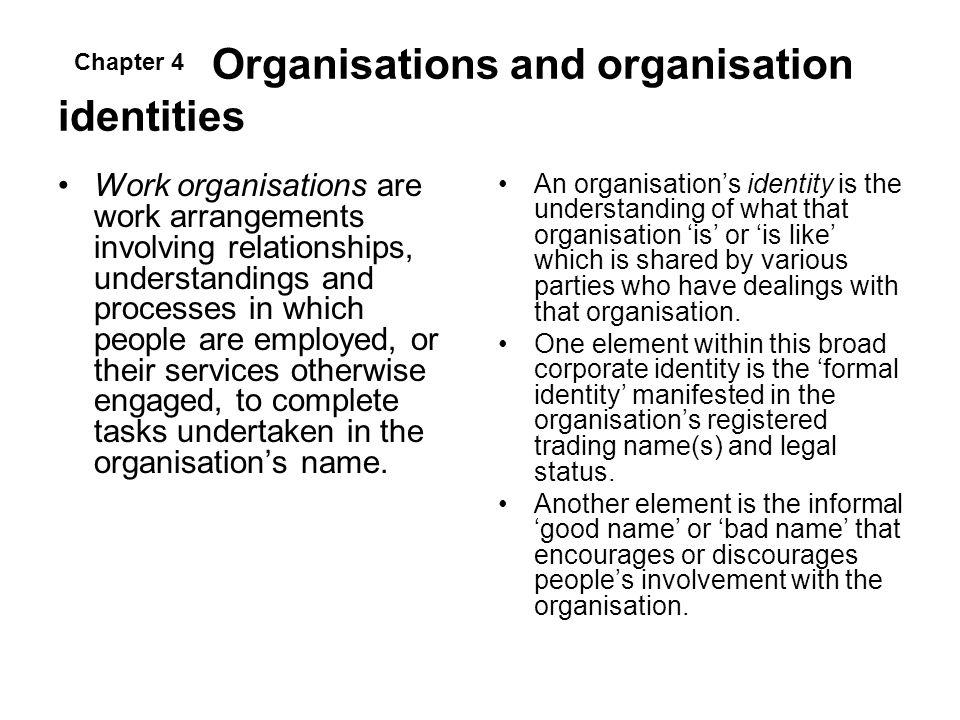 Organisations and organisation identities
