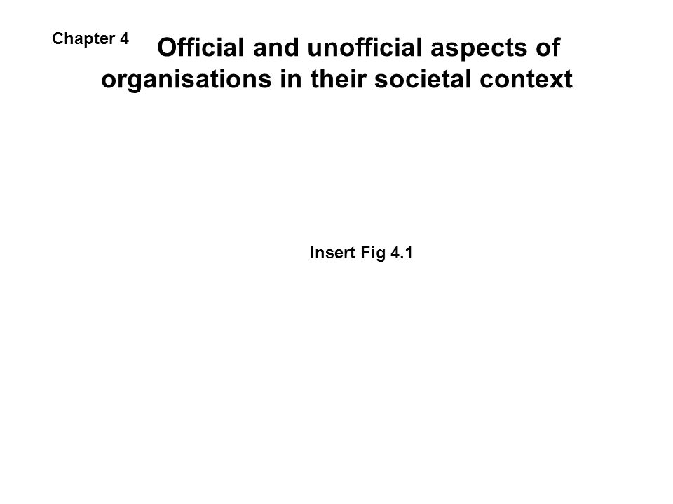 Official and unofficial aspects of organisations in their societal context