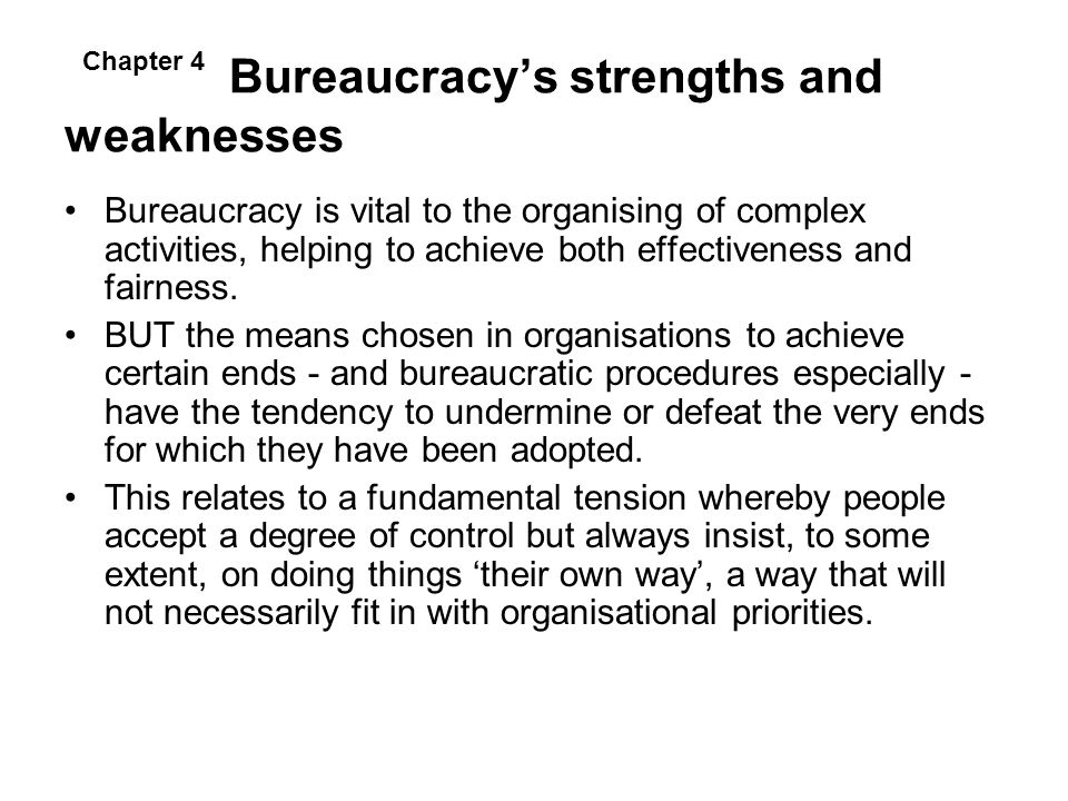 Bureaucracy's strengths and weaknesses