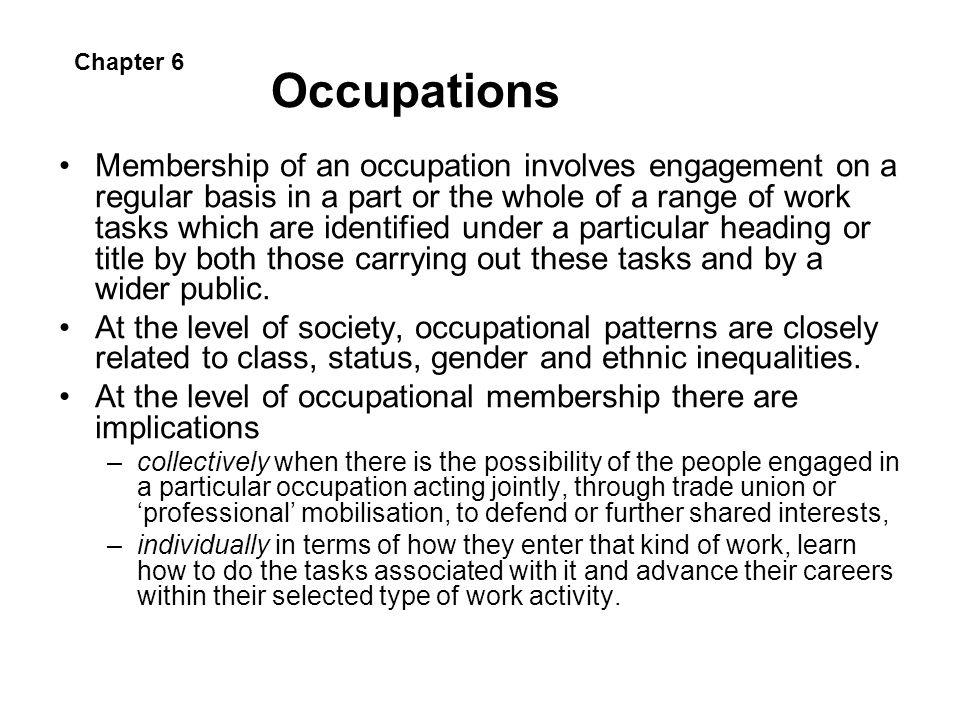 Occupations Chapter 6.