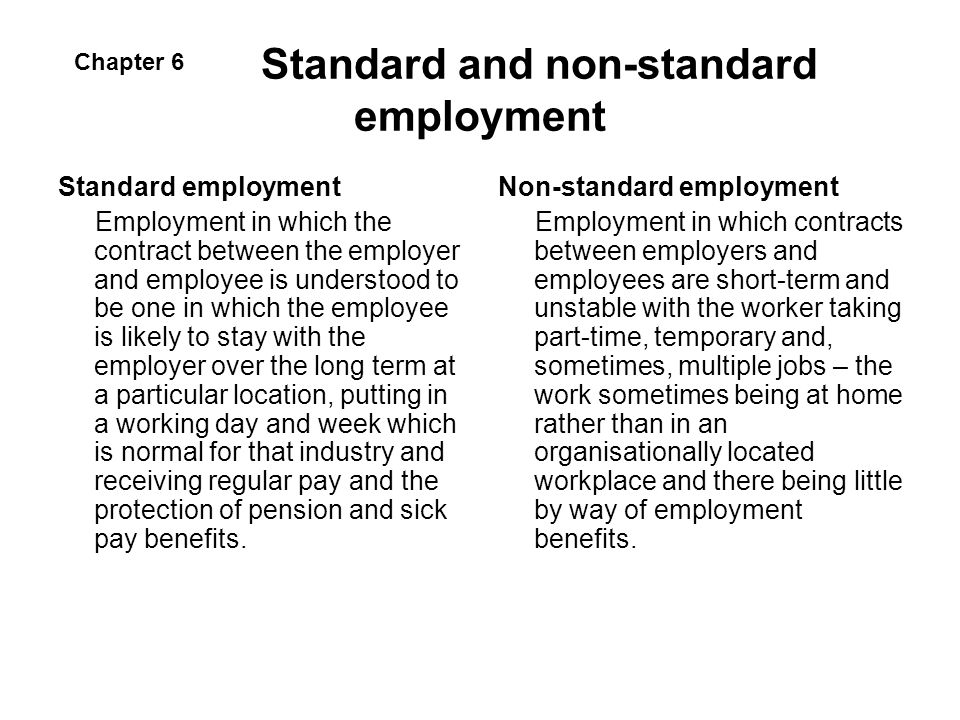 Standard and non-standard employment