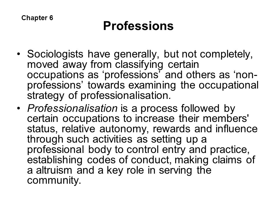 Professions Chapter 6.