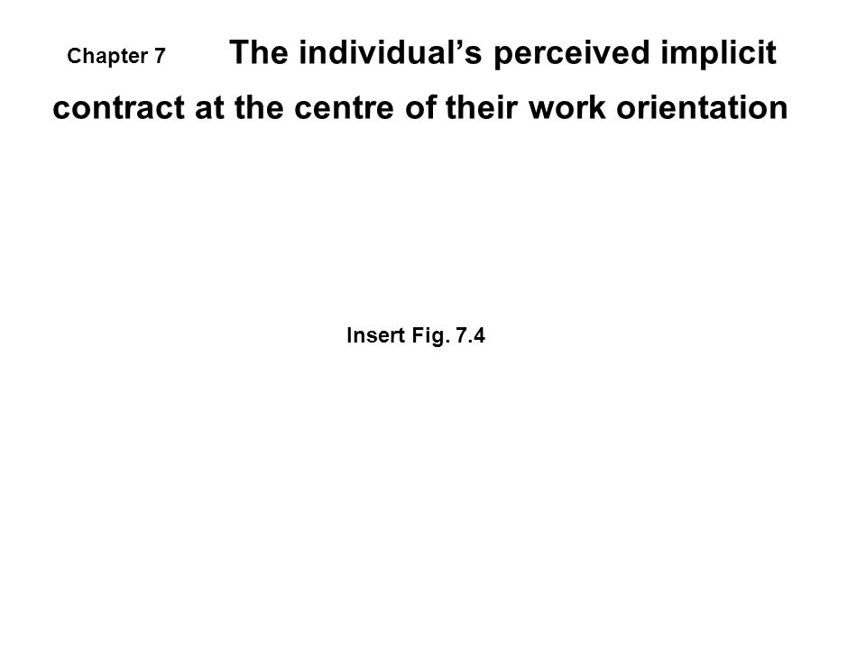 The individual's perceived implicit contract at the centre of their work orientation