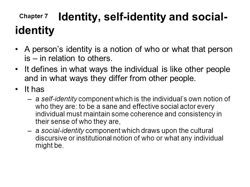 Identity, self-identity and social-identity