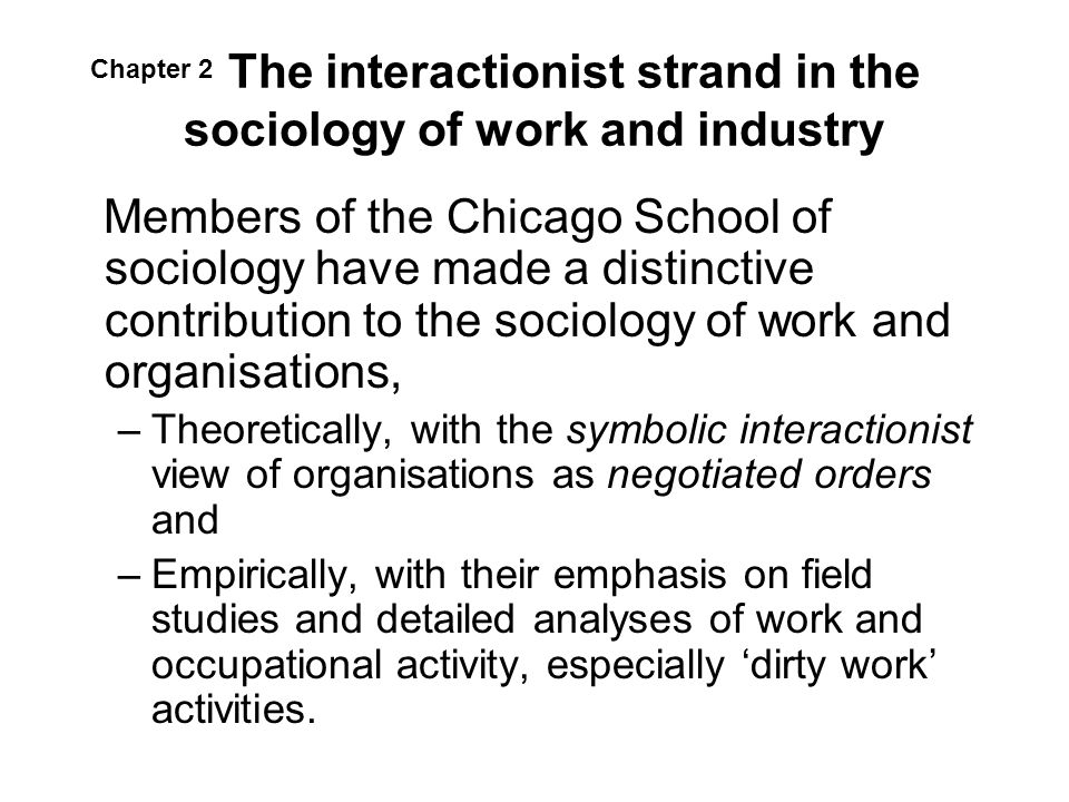 The interactionist strand in the sociology of work and industry