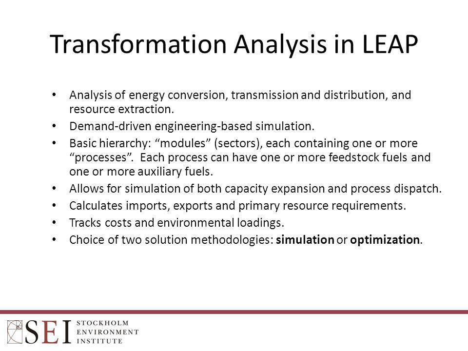 Transformation Analysis in LEAP