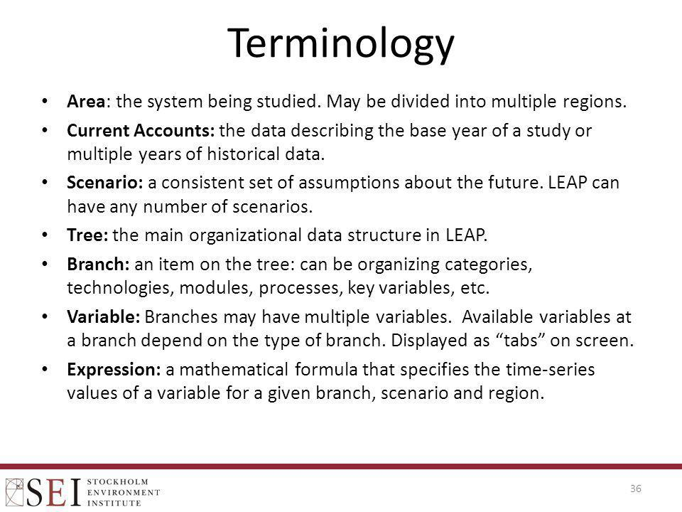 Terminology Area: the system being studied. May be divided into multiple regions.