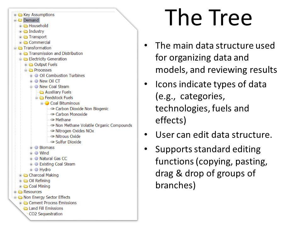 The Tree The main data structure used for organizing data and models, and reviewing results.