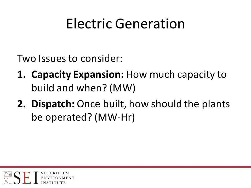 Electric Generation Two Issues to consider: