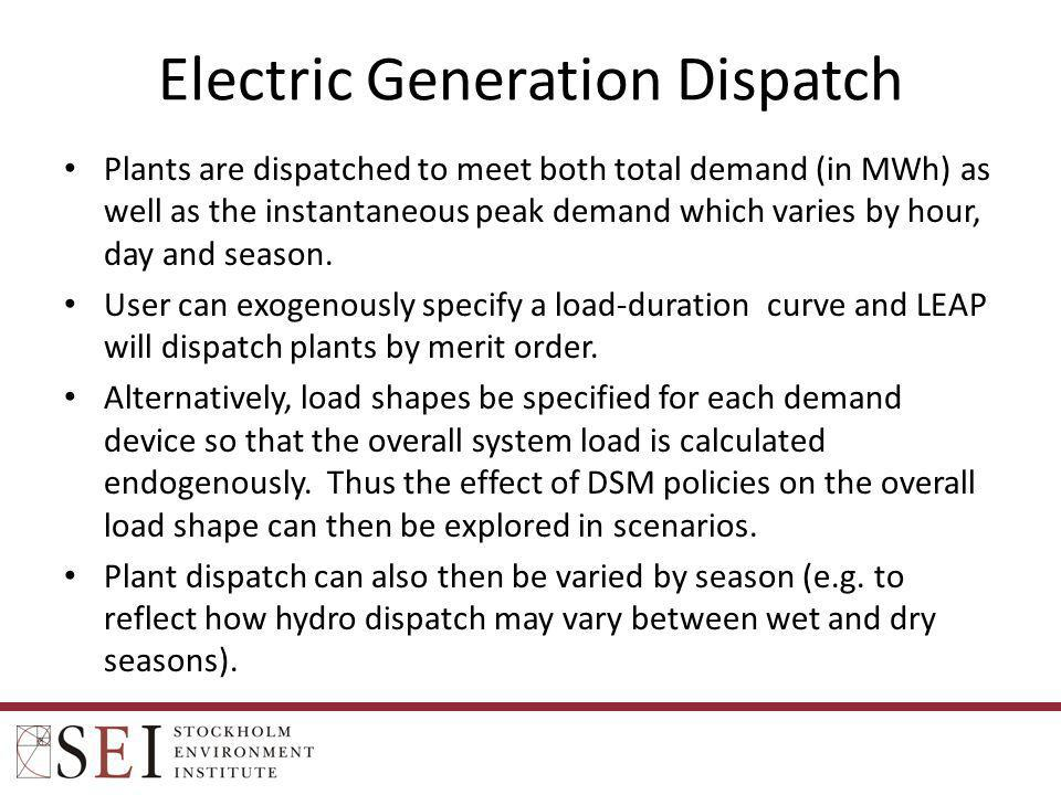 Electric Generation Dispatch