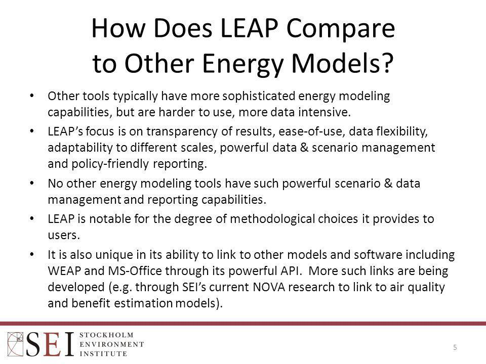 How Does LEAP Compare to Other Energy Models