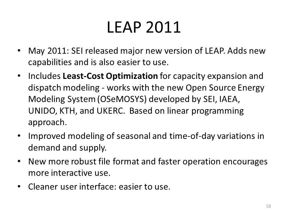 LEAP 2011 May 2011: SEI released major new version of LEAP. Adds new capabilities and is also easier to use.