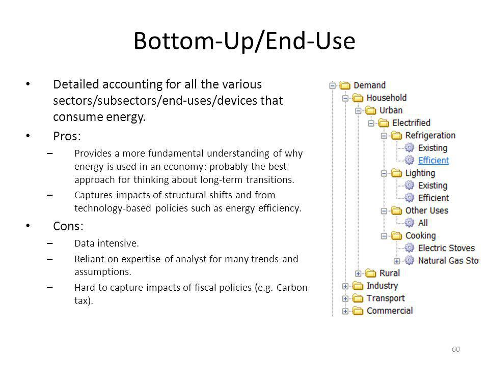 Bottom-Up/End-Use Detailed accounting for all the various sectors/subsectors/end-uses/devices that consume energy.
