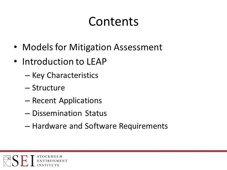 Contents Models for Mitigation Assessment Introduction to LEAP