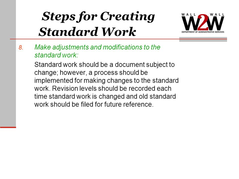 Steps for Creating Standard Work
