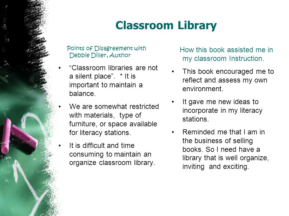 Classroom Library Points of Disagreement with Debbie Diller, Author.
