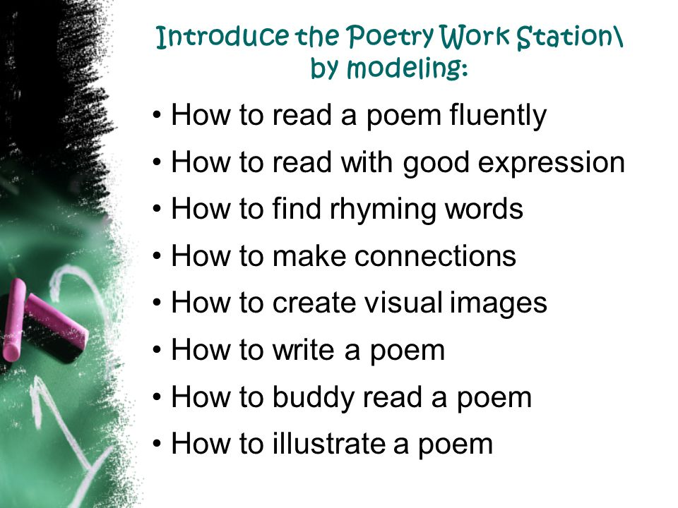 Introduce the Poetry Work Station\ by modeling: