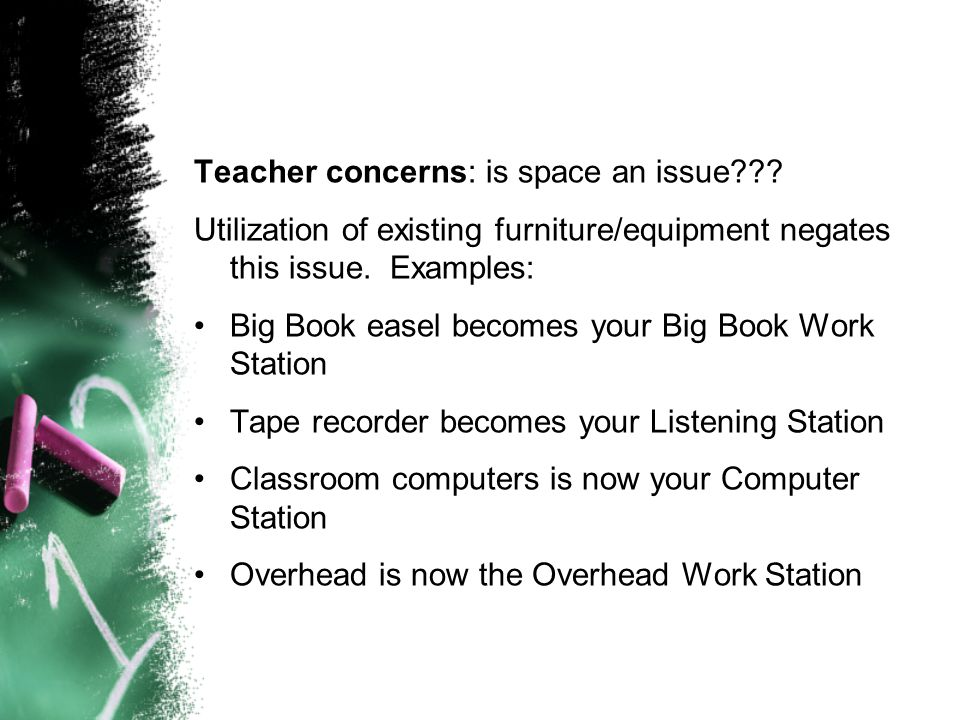Teacher concerns: is space an issue
