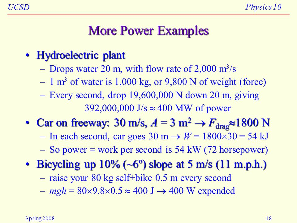 More Power Examples Hydroelectric plant