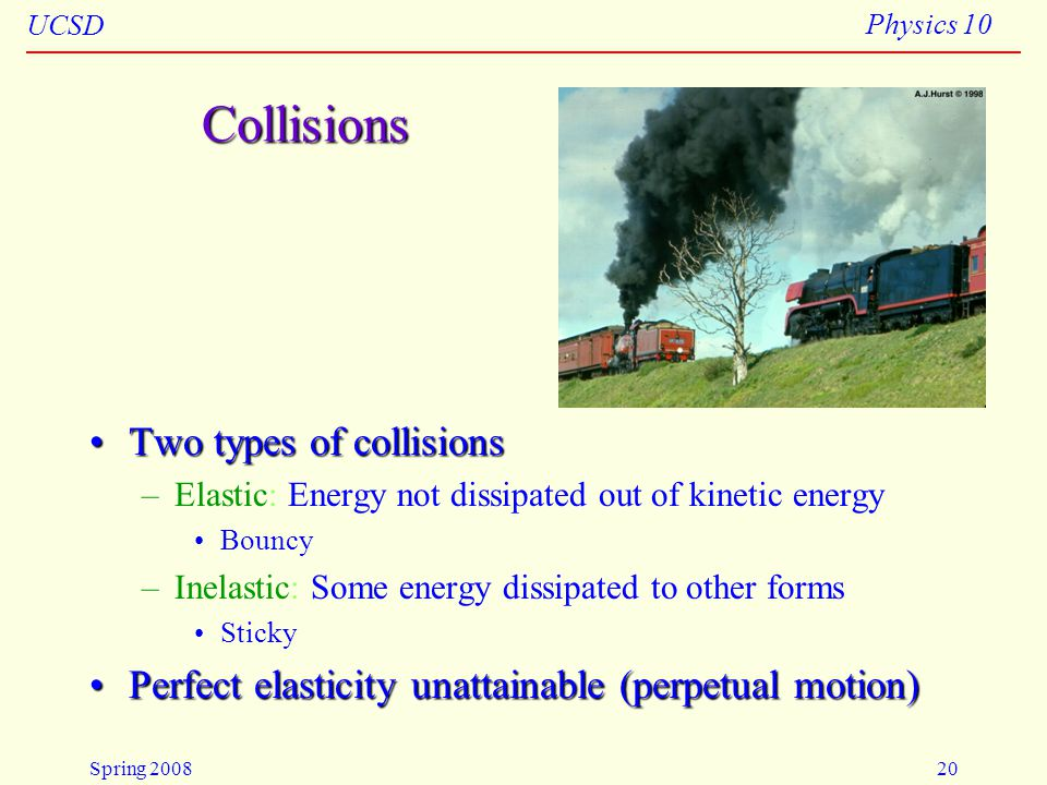 Collisions Two types of collisions