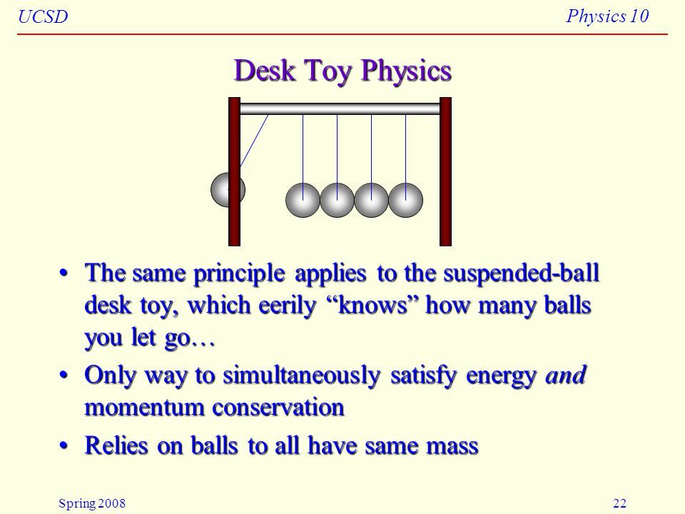 4/23/2008 Desk Toy Physics. The same principle applies to the suspended-ball desk toy, which eerily knows how many balls you let go…