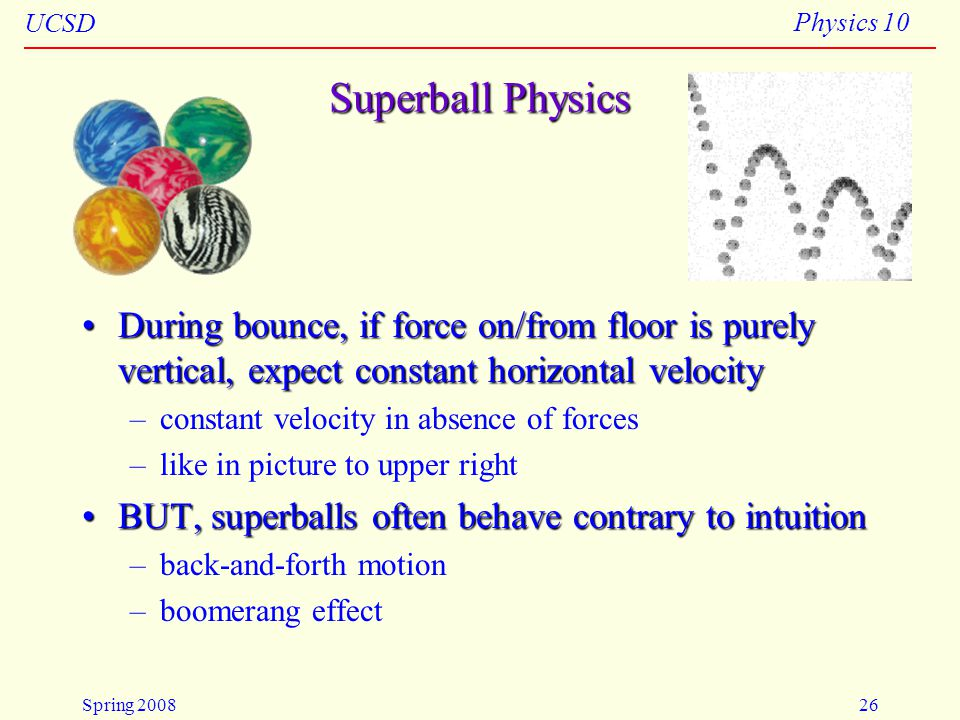 4/23/2008 Superball Physics. During bounce, if force on/from floor is purely vertical, expect constant horizontal velocity.