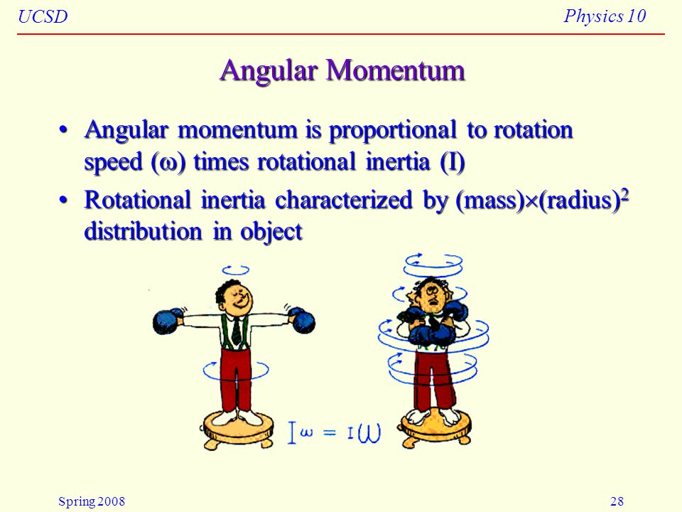 4/23/2008 Angular Momentum. Angular momentum is proportional to rotation speed () times rotational inertia (I)
