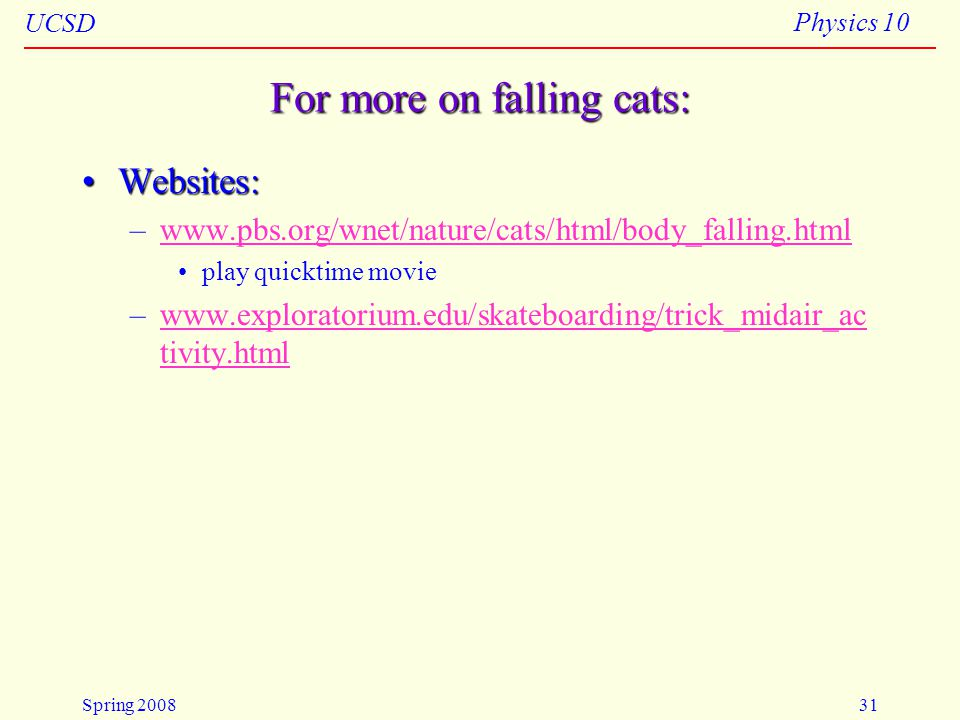 For more on falling cats: