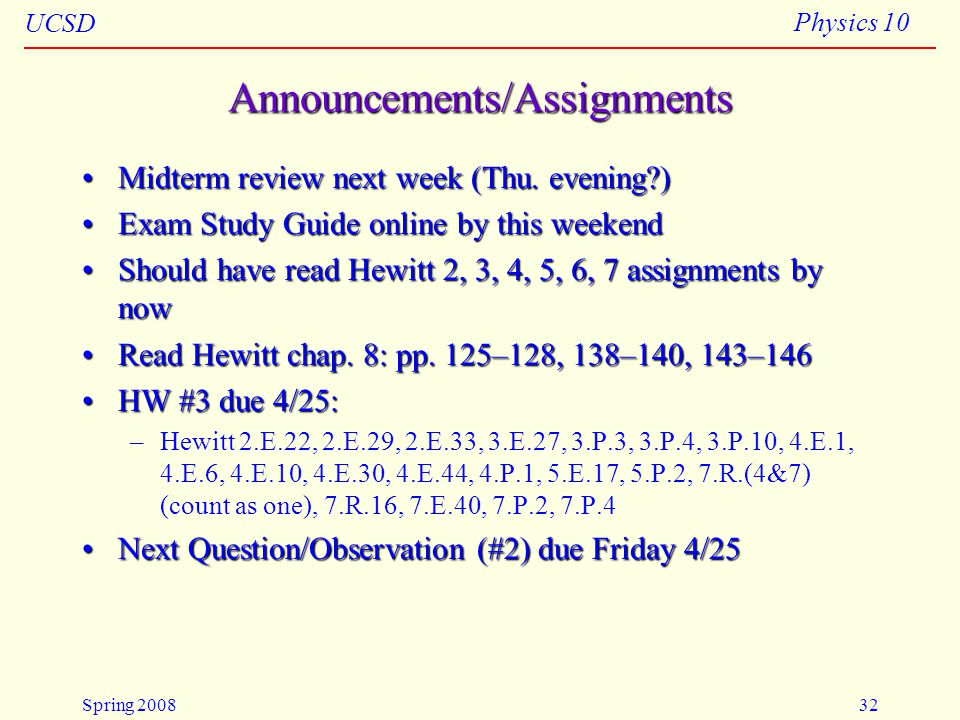 Announcements/Assignments