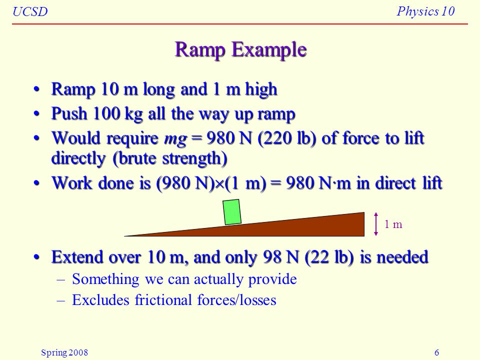 Ramp Example Ramp 10 m long and 1 m high