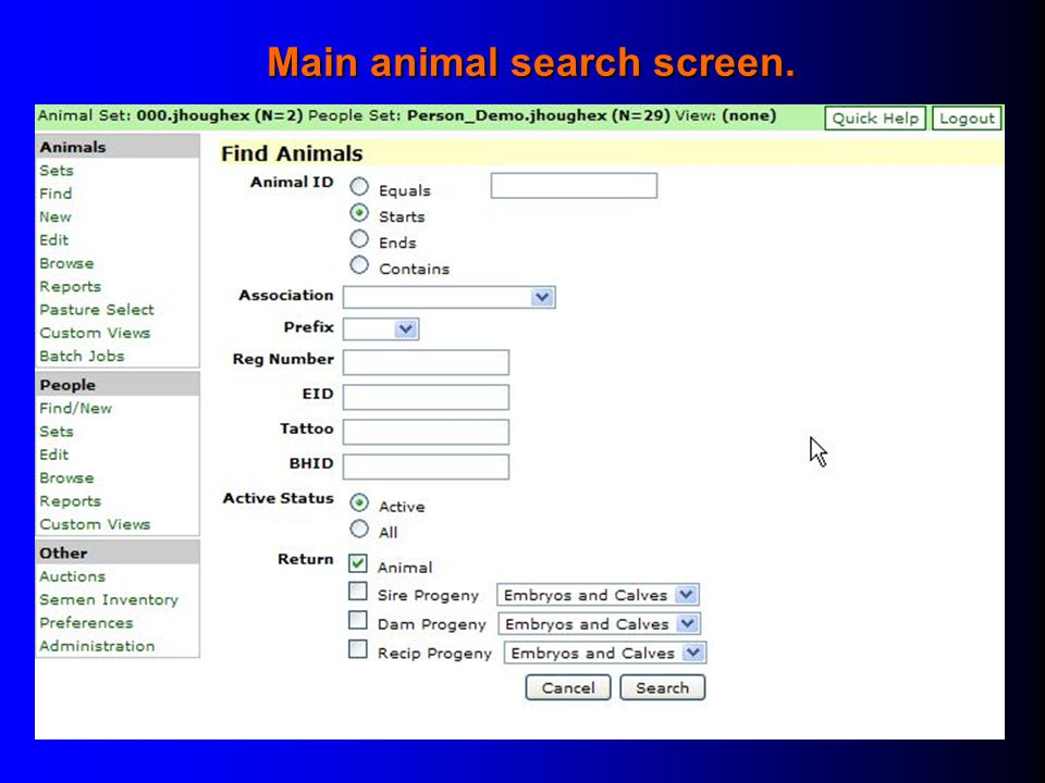 Main animal search screen.