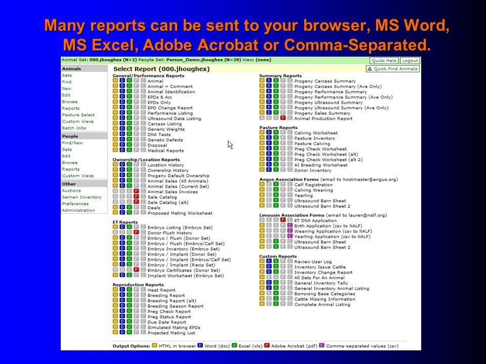 Many reports can be sent to your browser, MS Word, MS Excel, Adobe Acrobat or Comma-Separated.