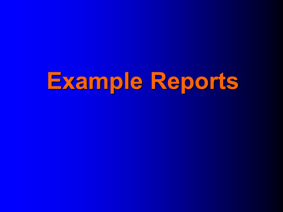 Example Reports