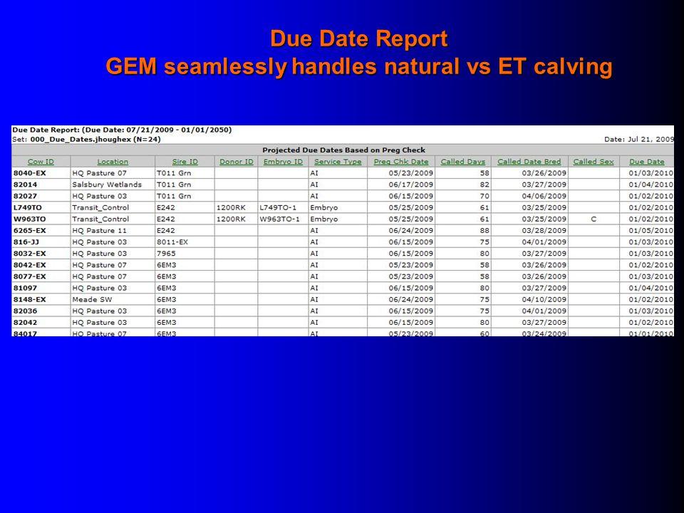 GEM seamlessly handles natural vs ET calving