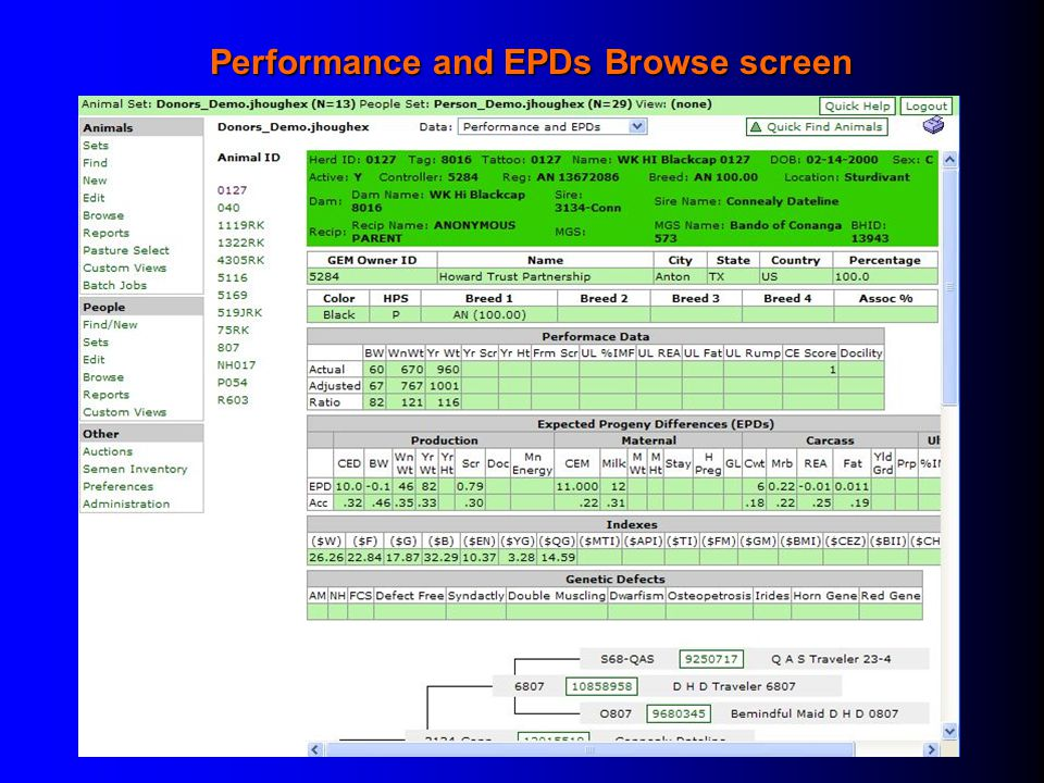 Performance and EPDs Browse screen
