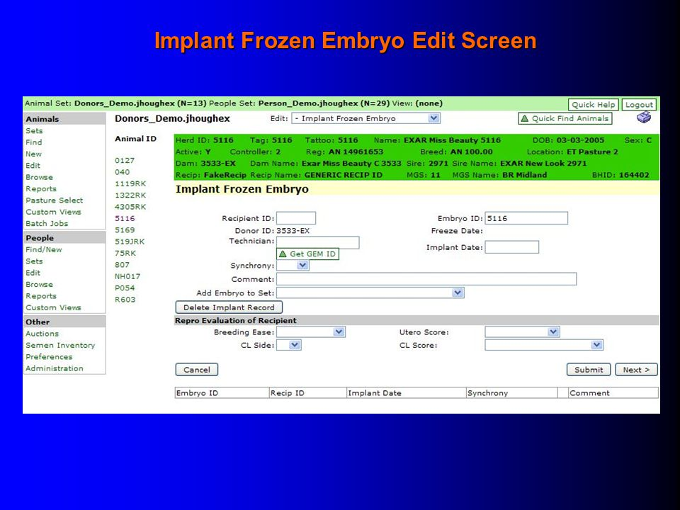 Implant Frozen Embryo Edit Screen